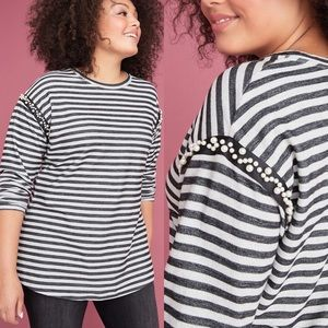 LANE BRYANT Faux Pearl Striped Long Sleeve Sweater